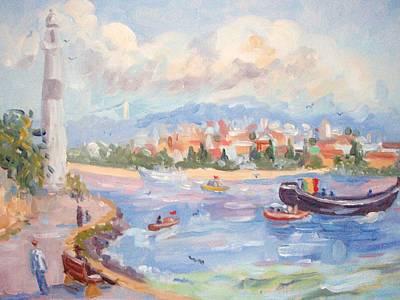 Boats On The Bosphorus Istanbul Art Print by Elinor Fletcher