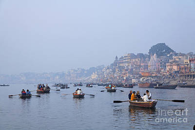 Boats On The River Ganges At Varanasi In India Art Print by Robert Preston