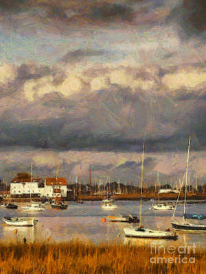 Suffolk Painting - Boats On The River by Pixel Chimp