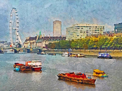 Digital Art - Boats On The River Thames And The London Eye by Digital Photographic Arts