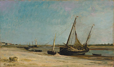 Painting - Boats On The Seacoast At Etaples by Charles-Francois Daubigny