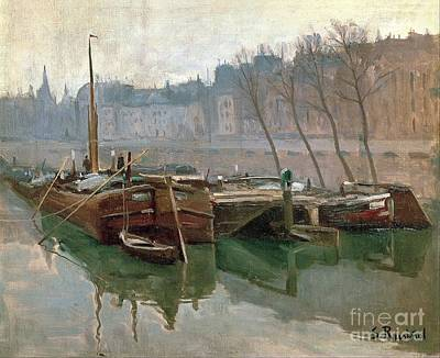 Boats On The Seine Art Print by Roberto Prusso