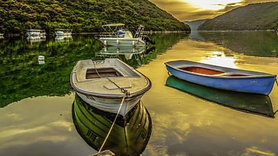 Landscape Photograph - Boats Reflection Nature Landscape Croatia by Valerii Tkachenko