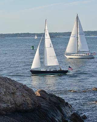 Photograph - Boats Sailing On Marblehead Harbor Chandler Hovey Park by Toby McGuire