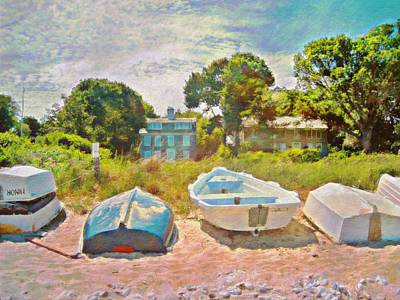 Painting - Boats Up On The Beach - Horizontal by Lyn Voytershark