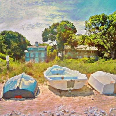 Painting - Boats Up On The Beach - Square by Lyn Voytershark