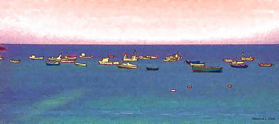 Photograph - Boats Waiting Off The Guernsey Shore by Bellesouth Studio