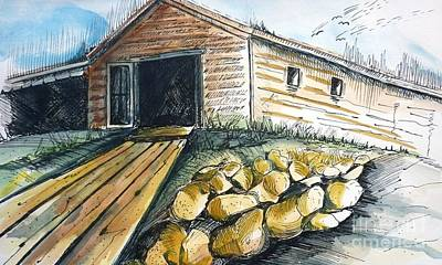 Boat Drawing - Boatshed - Pacific Creek - Original Sold by Therese Alcorn