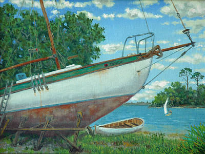 Painting - Boatyard On The Creek by Dwain Ray