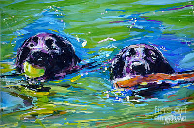 Water Retrieve Painting - Bob And Weave by Molly Poole