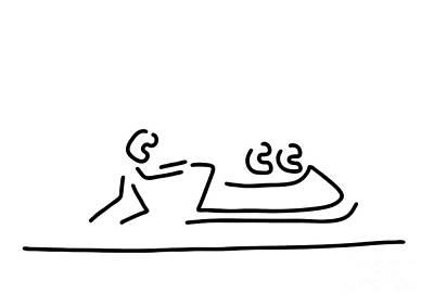 Winter Sports Drawing - Bob Bobfahrer Wintersport by Lineamentum