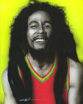 Flower Power Painting - Bob Marley - ' Bob ' by Christian Chapman Art