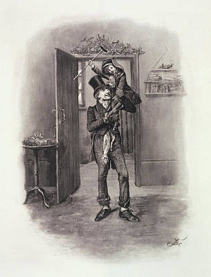 Happiness Drawing - Bob Cratchit And Tiny Tim by Frederick Barnard