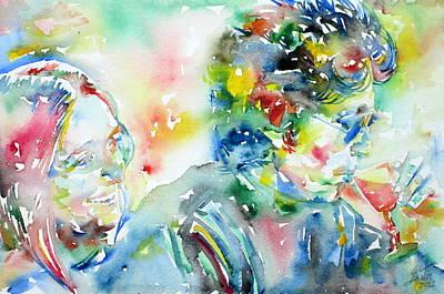 Joan Baez Painting - Bob Dylan And Joan Baez Watercolor Portrait.1 by Fabrizio Cassetta