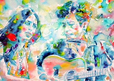 Joan Baez Painting - Bob Dylan And Joan Baez Watercolor Portrait.2 by Fabrizio Cassetta