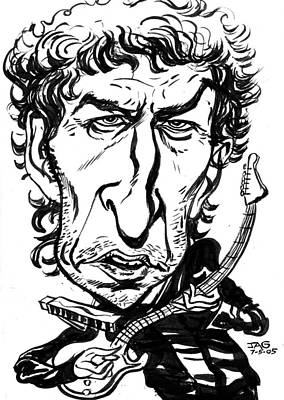 Caricature Drawing - Bob Dylan by John Ashton Golden