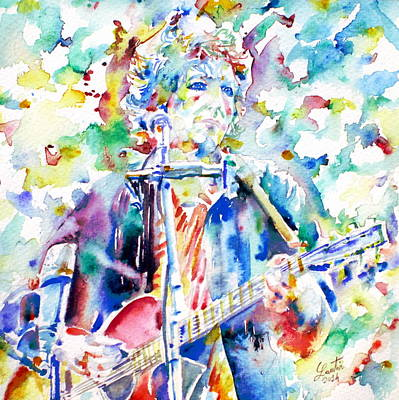Bob Dylan Playing The Guitar - Watercolor Portrait.1 Art Print by Fabrizio Cassetta