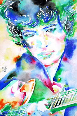 Bob Dylan Playing The Guitar - Watercolor Portrait.2 Print by Fabrizio Cassetta