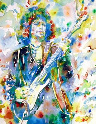 Bob Dylan Playing The Guitar - Watercolor Portrait.3 Art Print by Fabrizio Cassetta