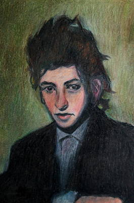 Rock Star Art Drawing - Bob Dylan Portrait In Colored Pencil  by Neal Eslinger