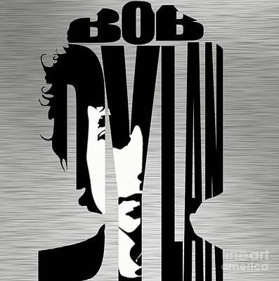 Bob Dylan Silver Art Print by Marvin Blaine