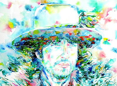 Bob Dylan - Watercolor Portrait.2 Art Print by Fabrizio Cassetta