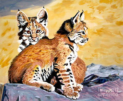 Art Print featuring the painting Bob Kittens by Phyllis Kaltenbach