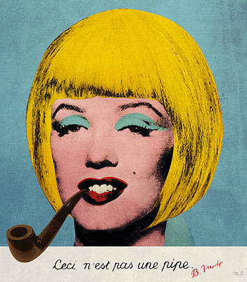 Hairstyle Digital Art - Bob Marilyn  With Surreal Pipe by Filippo B