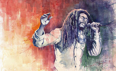Watercolour Painting - Bob Marley 01 by Yuriy  Shevchuk