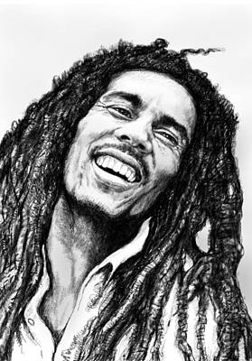 Bob Marley Art Drawing Sketch Portrait  Art Print