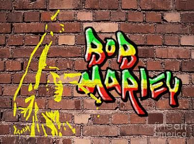 Digital Art - Bob Marley Graffiti by Laura Toth