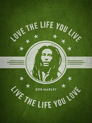 Autographed Drawing - Bob Marley - Green by Aged Pixel