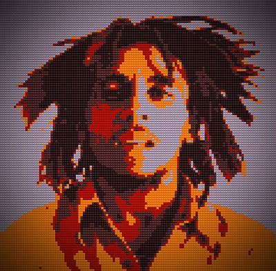 Bob Marley Abstract Painting - Bob Marley Lego Pop Art Digital Painting by Georgeta Blanaru