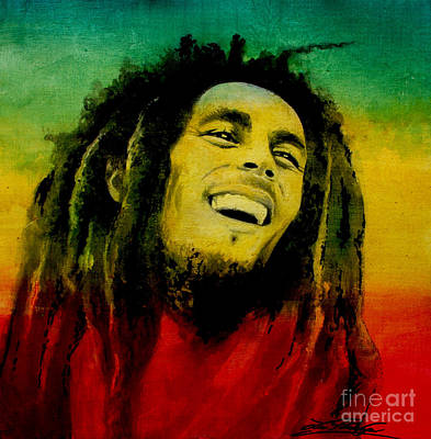 Painting - Bob Marley by Lin Petershagen