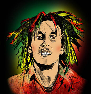 Abstract Digital Art Painting - Bob Marley by Mark Ashkenazi