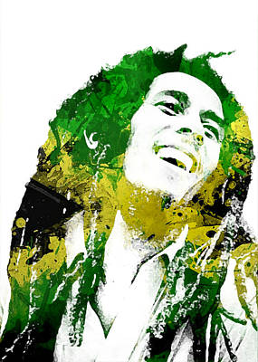 Digital Art - Bob Marley by Mike Maher