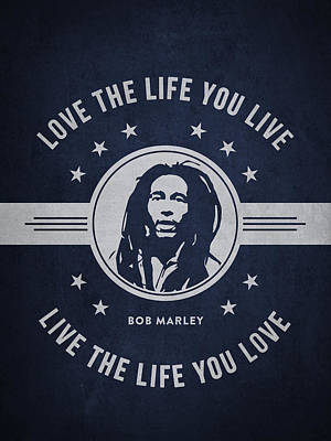 Autograph Drawing - Bob Marley - Navy Blue by Aged Pixel