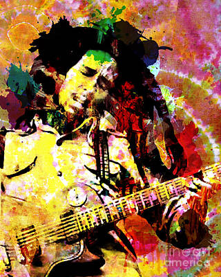 Reggae Art Painting - Bob Marley Original Painting Print by Ryan Rock Artist