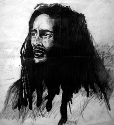 Musicians Drawings Rights Managed Images - Bob Marley Royalty-Free Image by Paul Sutcliffe