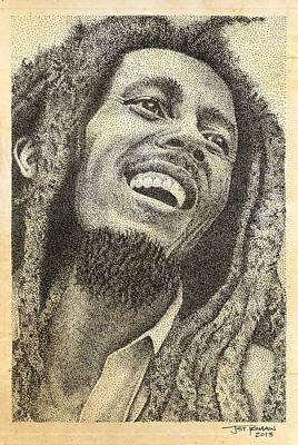 Pen Drawings Drawing - Bob Marley Pen Drawing by Jeffrey St Romain
