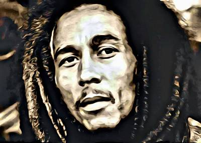 Jamaican Painting - Bob Marley Portrait by Florian Rodarte