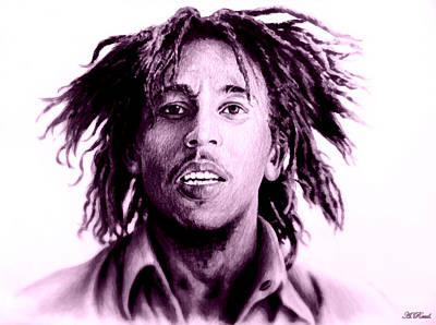 Reggie Digital Art - Bob Marley   Purple Haze by Andrew Read