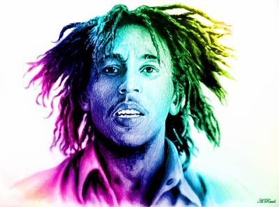 Colored Pencil Portrait Drawing - Bob Marley  Rainbow Effect by Andrew Read