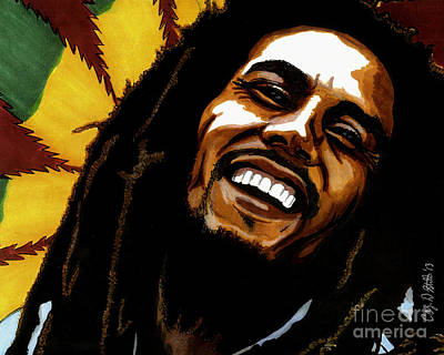 Drawing - Bob Marley Rastafarian by Cory Still
