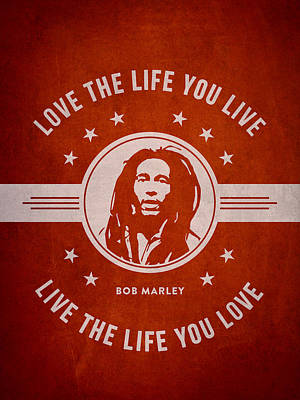 Autograph Drawing - Bob Marley - Red by Aged Pixel