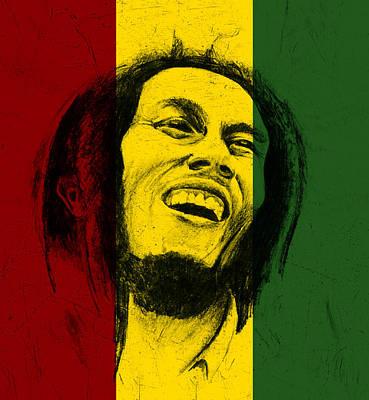 Headshot Digital Art - Bob Marley Reggae Tribute by Allan Swart