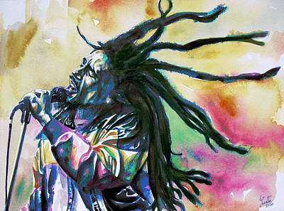 Concert Images Painting - Bob Marley Singing Portrait.1 by Fabrizio Cassetta