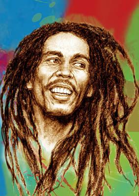 Charcoal Mixed Media - Bob Marley Stylised Pop Art Drawing Potrait Poser by Kim Wang
