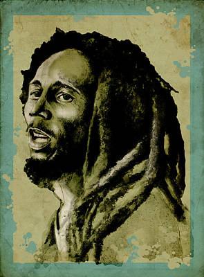 Rasta Painting - Bob Marley Vintage by Bekim Art