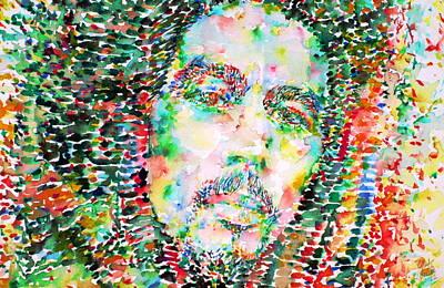 Dread Painting - Bob Marley Watercolor Portrait.3 by Fabrizio Cassetta